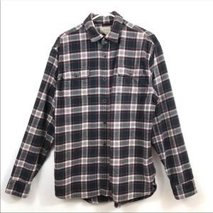 JACHS Black Gray Plaid Flannel LT Button SHIRT EUC